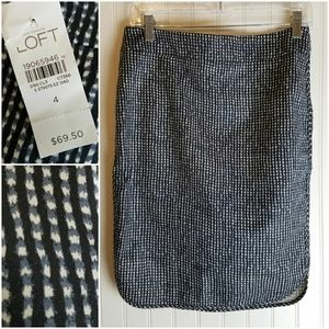 LOFT Blue and White Abstract Check Skirt NWT